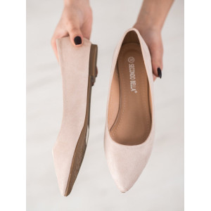 Moderné dámske balerínky semišové v béžovej farbe