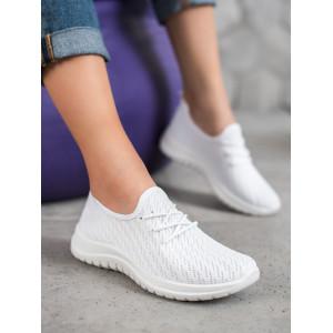Športové dámske tenisky v bielej farbe