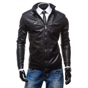 Kožená bunda čiernej farby pre každého muža