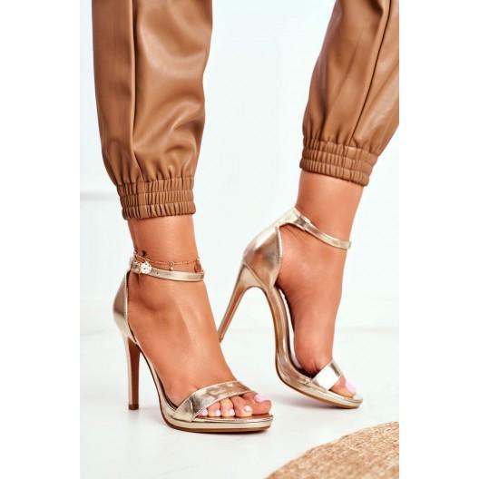Štýlové dámske zlaté sandále na vysokom opätku