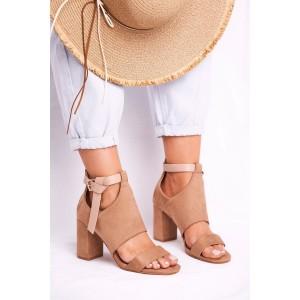 Originálne dámske béžové sandále s top designovým viazaním