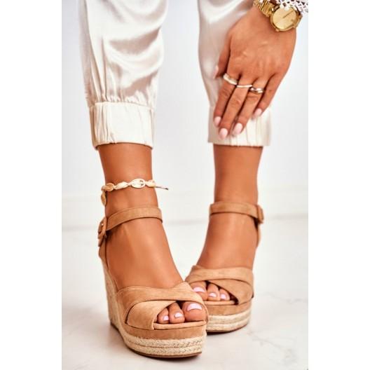 Dámske béžové sandále SEVILLA na vysokej plaforme