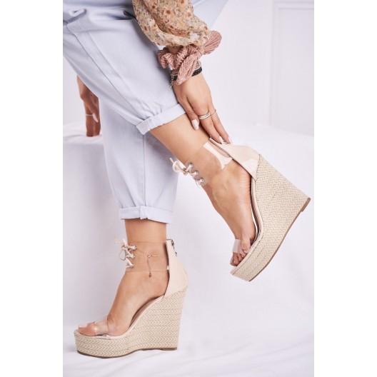 Originálne dámske transparentné sandále na platforme