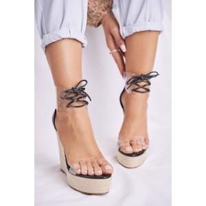 Štýlové dámske čierne sandále na pletencovej platforme