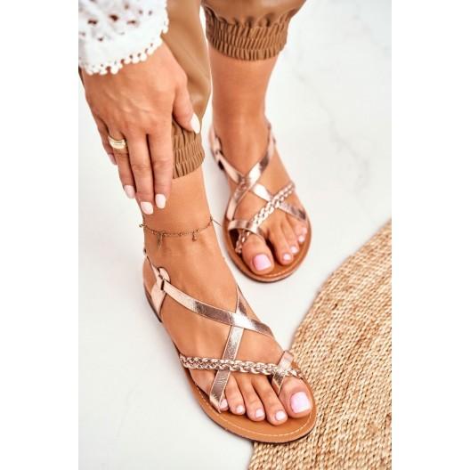 Dámske ružovo zlaté sandále s asymetrickým prekrížením
