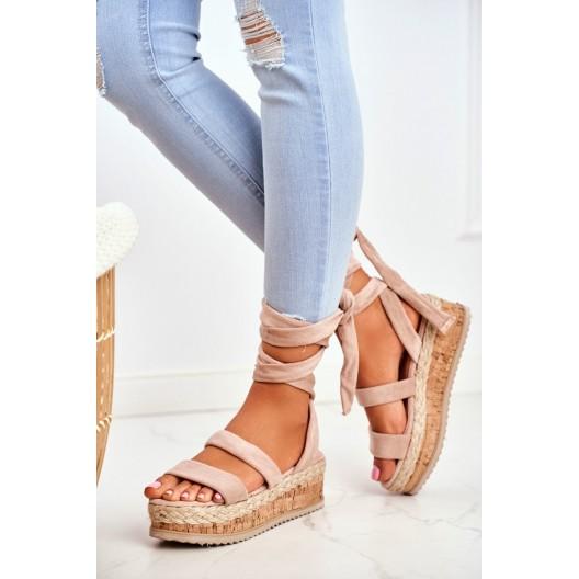 Letné dámske béžové korkové sandále s módnym viazaním