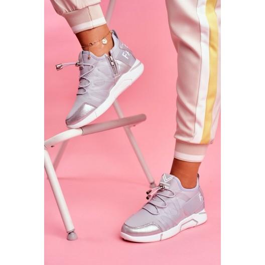 Trendy dámske sivé nasúvacie tenisky s bočným zipsom