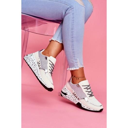 Štýlové dámske tenisky béžovo zlaté na trendy platforme