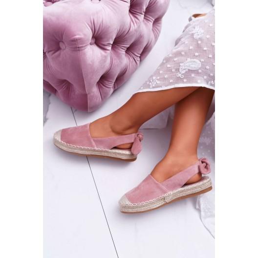 Unikátne dámske ružové espadrilky s módnym viazaním