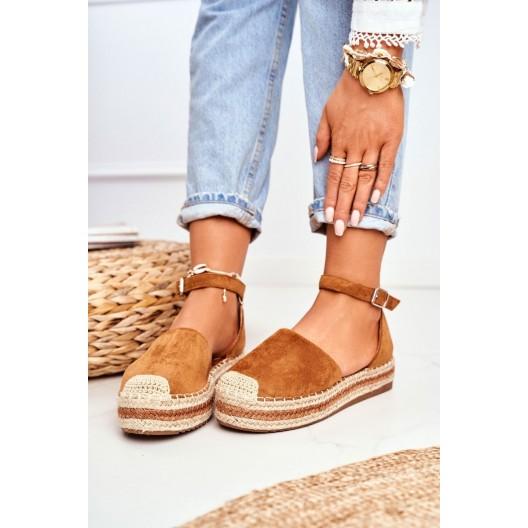 Hnedé dámske semišové espadrilky s viazaním okolo nohy