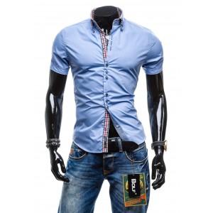 Pánska modrá košeľa s krátkym rukávom na každú príležitosť