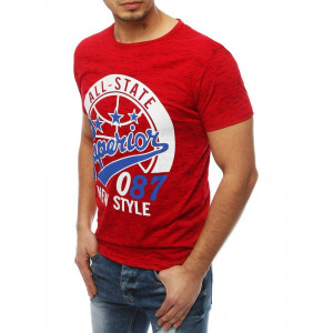 Moderné pánske tričko s potlačou v červenej farbe