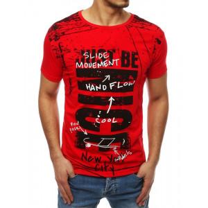 Pánske vzorované tričko v červenej farbe