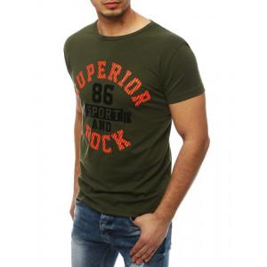 Lacné pánske tričko s nápisom v zelenej farbe
