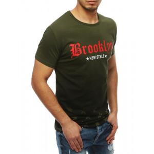 Štýlové pánske tričko s krátkym rukávom v zelenej farbe