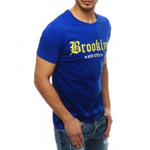 Pánske tričko s nápisom na leto v modrej farbe