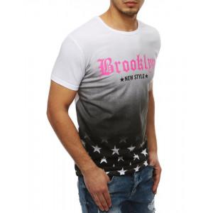Omdre pánske tričko v bielej farbe