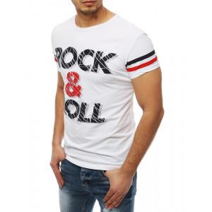 Pánske tričko v bielej farbe s nápisom ROCK