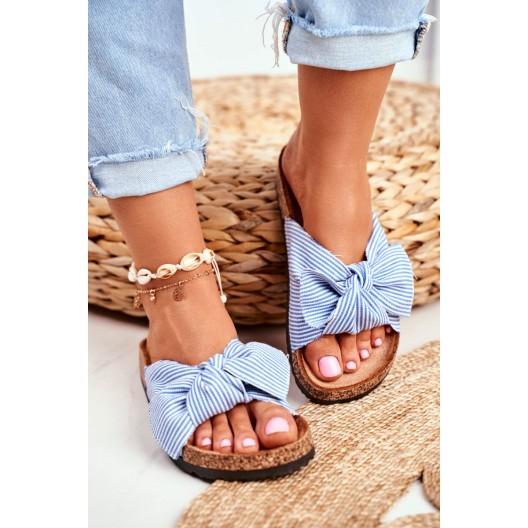 Krásne dámske korkové šľapky s modrou mašľou