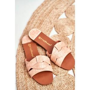 Ružové dámske šľapky s módnym pletencom
