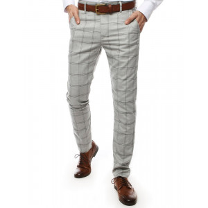 Karované pánske nohavice v sivej farbe