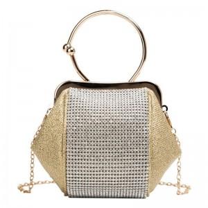 Spoločenská dámska zlatá kabelka s trblietavými zirkónmi