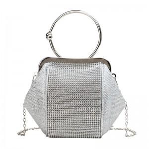 Strieborná dámska elegantná kabelka so zirkónmi