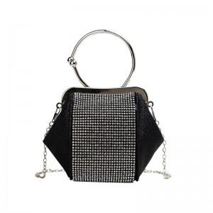 Čierna dámska kabelka so zirkónmi do spoločnosti