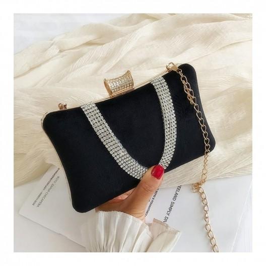 Čierna dámska listová kabelka s odnímateľnou retiazkou