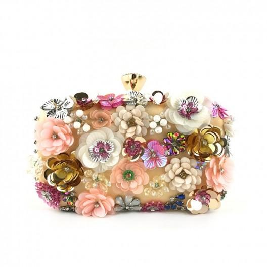 Luxusná dámska listová kabelka s kvetmi a retiazkou