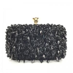 Exkluzívna čierna listová kabelka s flitrami a zlatou rúčkou