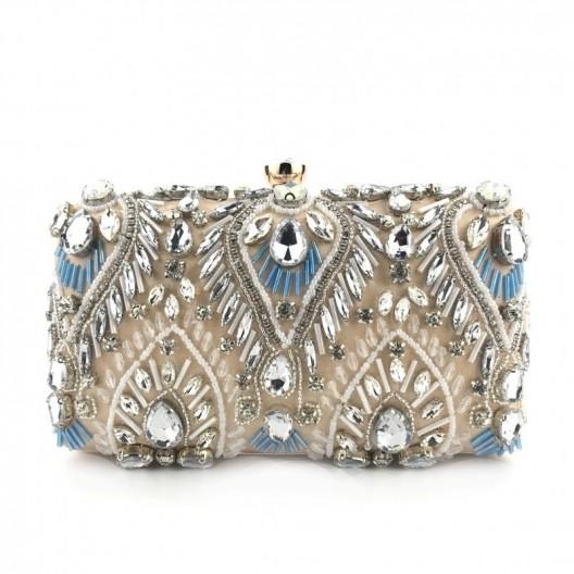 Originálna dámska béžová listová kabelka s kryštálmi