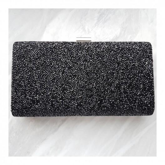 Čierno strieborná listová kabelka na ples
