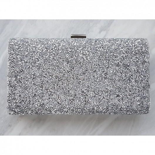 Luxusná dámska strieborná listová kabelka s retiazkou