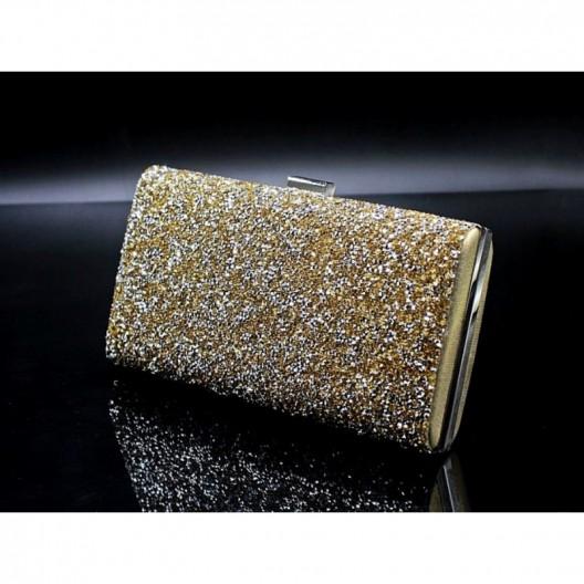 Zlatá trblietavá dámska listová kabelka