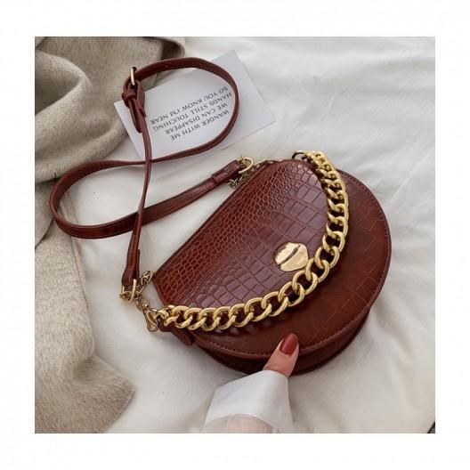 Dámska hnedá crossbody kabelka so zlatou reťazou
