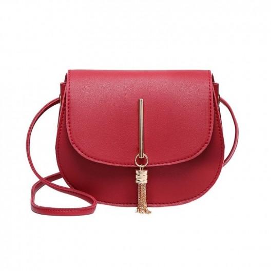 Štýlová dámska červená crossbody kabelka s ozdobou