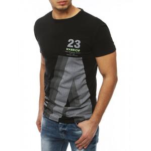 Moderné tričko s krátkym rukávom v čiernej farbe