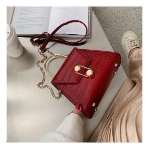 Štýlová dámska červená kabelka s módnym zapínaním