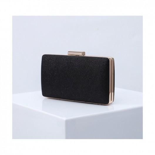 Elegantná čierna trblietavá listová kabelka