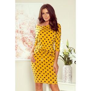 Pohodlné dámske žlté šaty s loďkovým výstrihom
