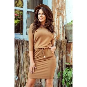 Jednofarebné hnedé dámske šaty s bočnými vreckami