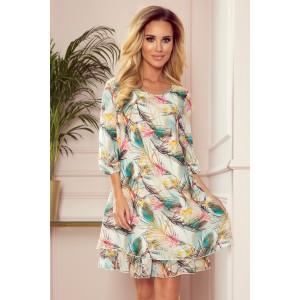 Letné dámske mini šaty voľného strihu s potlačou pierok