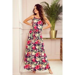 Dámske maxi šaty na ramienka s kvetmi a širokou sukňou