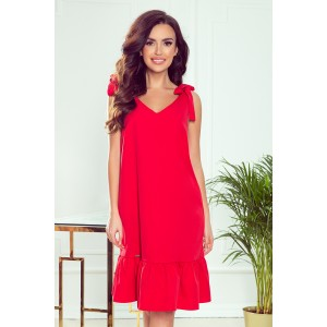Romantické dámske červené šaty na ramienka s mašľou