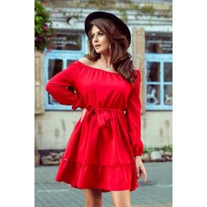 Trendy dámske červené šaty s opaskom