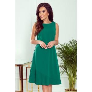 Spoločenské dámske zelené šaty s asymetrickým plisom