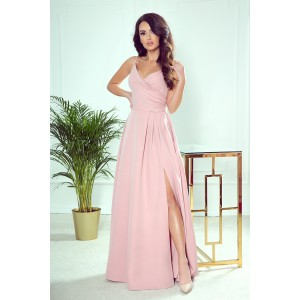 Krásne ružové dlhé maxi spoločenské šaty s rozparkom