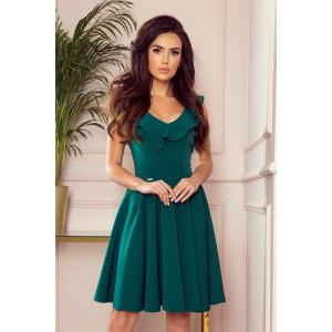 Módne smaragdovo zelené dámske śaty s ozdobným volánom