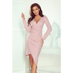 Elegentné dámske ružové pasentné šaty s asymetrickou sukňou